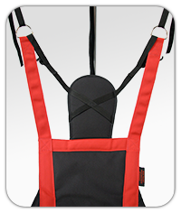 manufactured in padded polyester fabric and webbing