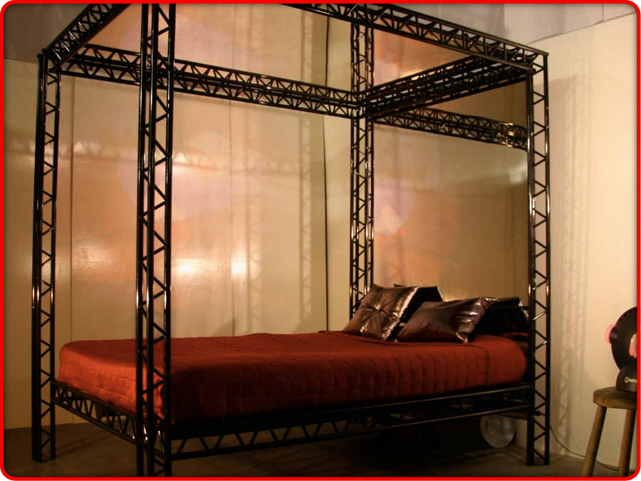 The red kinky bed the ultimate bondage kink bed for for Dungeon bedroom ideas