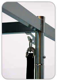 When not in use, the four ankle and wrist suspension straps can be hung neatly on the frame