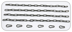 Set includes four lengths of long link 5mm stainless steel chain and six 6mm bright zinc plated steel carbine hooks